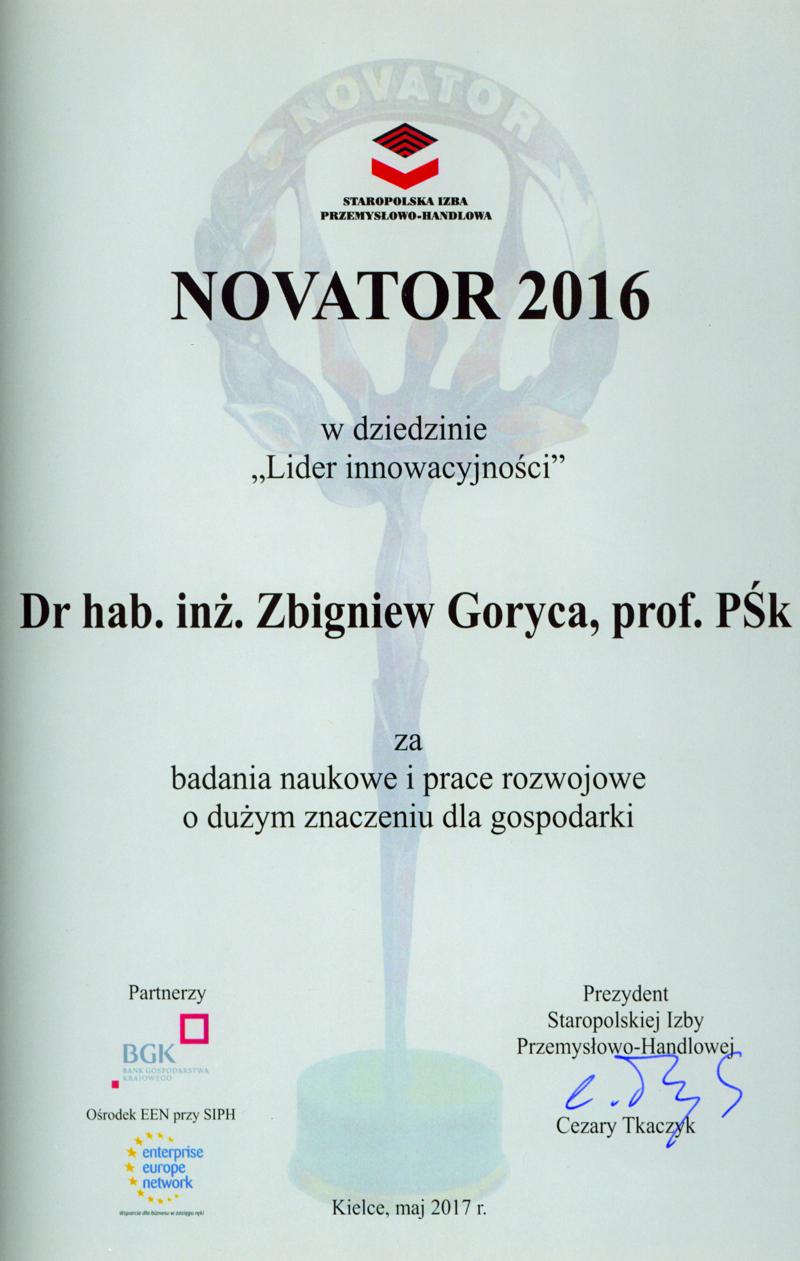 Nagroda Novator 2016 dla Pana Prof. Zbigniewa Gorycy