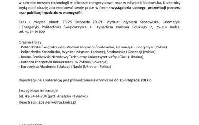 """II Międzynarodowa Konferencja """"Aktualne Zagadnienia Energetyki, Budownictwa i Inżynierii Środowiska"""""""